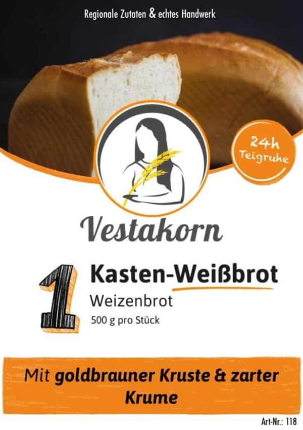 Etikett Vorderseite Kasten Weißbrot