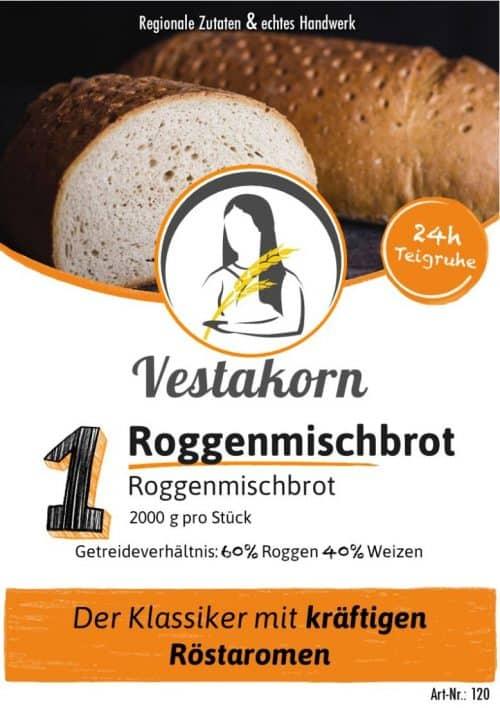Etikett Vorderseite Roggenmischbrot 4 Pfund
