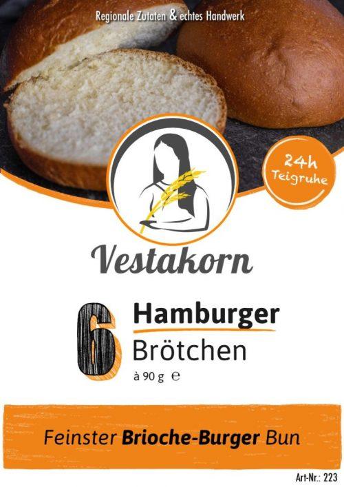 Etikett Vorderseite Hamburger Brötchen