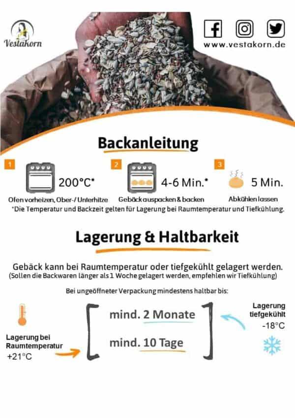 Backanleitung und Lagerung Feingebäck von Vestakorn