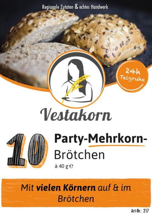 Etikett Vorderseite Party-Mehrkornbrötchen
