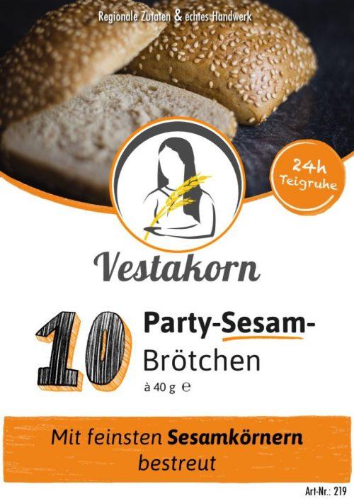 Etikett Vorderseite Party-Sesambrötchen