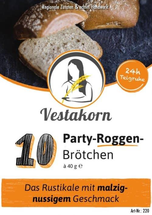 Etikett Vorderseite Party-Roggenbrötchen