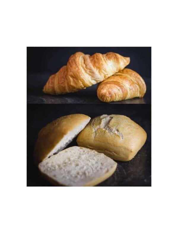 Dargestellt sind Weizenbrötchen und Croissants