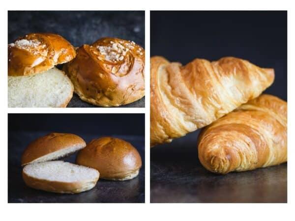 Nahaufnahme Croissants, Campingwecken & Milchbrötchen